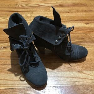 All Saints Gray Suede lace up ankle boots Size 8